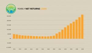 graph showing solar panel net return loans in california