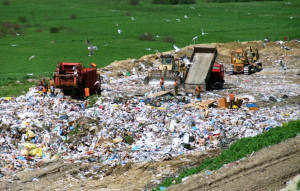 landfill with people and trucks