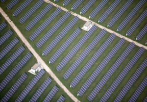birds eye view of solar panel installations