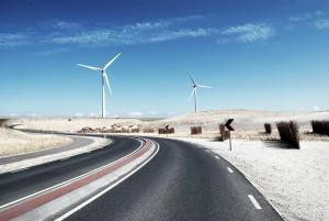 windfarms on a road